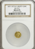 California Fractional Gold: , 1871 50C Liberty Octagonal 50 Cents, BG-927, Low R.5, MS63Prooflike NGC. NGC Census: (2/0). (#710...