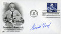 """Autographs:U.S. Presidents, Gerald Ford: Roosevelt Centennial Stamp First Day Cover Signed..-Postmarked January 30, 1982, Hyde Park, New York. 6.5"""" x 3..."""