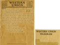 "Autographs:U.S. Presidents, Franklin D. Roosevelt: Original Western Union Telegram Sent asPresident.. -July 6, 1933. Washington, D.C. One page, 8"" x 10...(Total: 2 Items)"