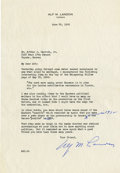 "Autographs:Statesmen, Alf M. Landon: Typed Letter Signed.. -June 28, 1955. Topeka,Kansas. One page, 7.25"" x 10.5"". Landon's letterhead.. -To: Mr...."