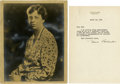 Autographs:U.S. Presidents, Eleanor Roosevelt: Typed Letter Signed as First Lady, with a SignedPhotographic Portrait.. -March 20, 1936. Washington, D.C... (Total:2 Items)