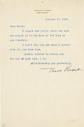 "Autographs:U.S. Presidents, Eleanor Roosevelt: Typed Letter Signed To Harry L. Hopkins..-January 22, 1944. Washington, D.C. One page, 6"" x 9.25"". White..."