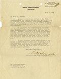 "Autographs:U.S. Presidents, Franklin D. Roosevelt: Typed Letter Signed ""F.D. Roosevelt""as Assistant Secretary of the Navy.. -June 10, 1919...."