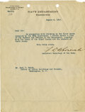 "Autographs:U.S. Presidents, Franklin D. Roosevelt: Typed Letter Signed ""F.D. Roosevelt""as Assistant Secretary of the Navy.. -August 8, 1917..."
