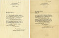 """Autographs:U.S. Presidents, Franklin D. Roosevelt: Two Typed Letters Signed """"F DRoosevelt"""" as Assistant Secretary of the Navy Regarding the""""... (Total: 2 Items)"""