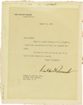 Autographs:U.S. Presidents, Franklin D. Roosevelt: Typed Letter Signed as President RegardingOak Island.. -August 19, 1933. Washington, D. C. One page,...