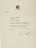 "Autographs:U.S. Presidents, Franklin D. Roosevelt: Typed Letter Signed as New York Governor..-April 22, 1932. One page, 8"" x 10.5"". State of New York, ..."