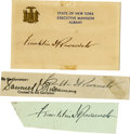 "Autographs:U.S. Presidents, Franklin D. Roosevelt: Three Signatures.. -State of New YorkExecutive Mansion Card. 5"" x 3"". Soiling and toning.. -Clip fro...(Total: 3 Items)"