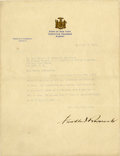 "Autographs:U.S. Presidents, Franklin D. Roosevelt: Typed Letter Signed as New York Governor..-December 21, 1929. Albany, New York. One page. 8"" x 10.5""..."