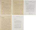 """Autographs:Statesmen, Frank Knox: Letter Archive including Two Typed Letters Signed.. -January 24, 1933 TLS. One page. 8.5"""" x 11"""", Chicago Daily N... (Total: 5 Items)"""