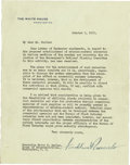 "Autographs:U.S. Presidents, Franklin D. Roosevelt: Typed Letter Signed as President.. -October5, 1933, Washington, D. C. One page, 7"" x 9"". White House..."