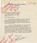 Autographs:Statesmen, Harry L. Hopkins: Typed Letter Signed as Chairman of thePresident's Soviet Protocol Committee, Regarding the Soviet RequestF...