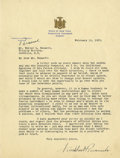 """Autographs:U.S. Presidents, Franklin D. Roosevelt: Typed Letter Signed as New York Governor andMarked """"Personal."""". -February 15, 1932. Albany, New York..."""