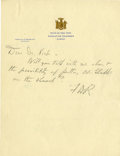"""Autographs:U.S. Presidents, Franklin D. Roosevelt: Autograph Note Signed """"FDR."""" as NewYork Governor.. -Undated (circa 1929-1930). Albany, N..."""