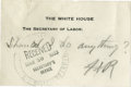 "Autographs:U.S. Presidents, Franklin D. Roosevelt: Autograph Note Signed ""FDR"" asPresident.. -[May 19, 1933]. [Washington, D.C.] 4"" x 2.75""..."