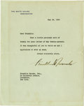 "Autographs:U.S. Presidents, Franklin D. Roosevelt: Typed Letter Signed as President.. -May 28,1940. Washington, D.C. One page, 7"" x 9"". White House let..."