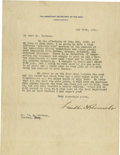 """Autographs:U.S. Presidents, Franklin D. Roosevelt: Typed Letter Signed as Assistant Secretaryof the Navy Regarding a Democratic """"Get-Together"""" at Hyde Pa..."""