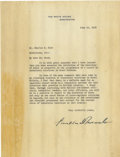 "Autographs:U.S. Presidents, Franklin D. Roosevelt: Typed Letter Signed as President.. -June 16,1938. Washington, D.C. One page, 8"" x 8.75"". White House..."