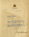 "Autographs:U.S. Presidents, Franklin D. Roosevelt: Typed Letter Signed as New York Governor..-March 19, 1931. Albany, New York. One page, 8"" x 10.5"". S..."