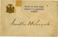 "Autographs:U.S. Presidents, Franklin D. Roosevelt: Card Signed as New York Governor.. -No date. No place. 5"" x 3.25"". State of New York Executive Mansio..."
