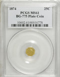 California Fractional Gold, 1874 25C Liberty Octagonal 25 Cents Plate Coin, BG-775, High R.6,MS61 PCGS. PCGS Population (2/3). NGC Census: (0/1). (#...