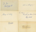 Autographs:Index Cards, Baseball Hall of Famers Signed Index Cards Lot of 17....