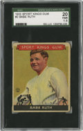 Baseball Cards:Singles (1930-1939), 1933 Goudey Sport Kings Babe Ruth #2 SGC 20 Fair 1.5....