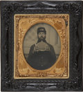 Military & Patriotic:Civil War, 1/6 Plate Ruby Ambro Union Civil War Enlisted Man Drinking from Canteen. This soldier wearing a shell jacket and kepi. Unide...