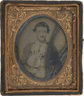 Military & Patriotic:Civil War, 1/6 Plate Early War Soft Emulsion Ambrotype of a Young Soldier Playing the Violin. Wears four button blouse with buttons tin...