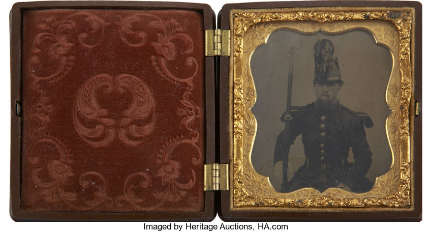 1/6 Plate Tintype of a Civil War Chasseur Wearing the Unique | Lot