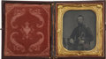 Military & Patriotic:Civil War, Crisp 1/6 Plate Tintype of a Federal Company Grade Officer. Wears frock coat with shoulder straps, McDowell type kepi on the...