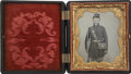 Military & Patriotic:Civil War, Remarkably Bright 1/6 Plate Tintype of a Federal Infantryman. Wears nine button frock coat with very high collar, bummer's c...