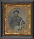 Military & Patriotic:Civil War, 1/6 Plate Tintype Union Civil War Enlisted Man Holding EatingUtensils. This young soldier wearing artillery shell jacket an...