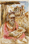 Fine Art - Work on Paper:Drawing, DAVID DAVIDOVICH BURLIUK (Russian/American, 1882-1967).Scholar, 1952. Ink, crayon, and graphite on notepad paper. 9x 6...