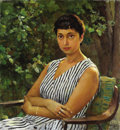 Fine Art - Painting, Russian, VLADIMIR ALEKSANDROVICH SEROV (Russian, 1910-1968). Portrait of the Artist's Wife, 1962. Oil on canvas. 31 x 29 inches (...