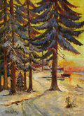 Fine Art - Painting, Russian:Antique (Pre-1900), YULIY YULEVICH (JULIUS) KLEVER AND STUDIO (Russian, 1850-1924).Winter Evening on the Lake, 1887. Oil on canvas. 38 x 28...