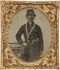 Military & Patriotic:Civil War, 1/6 Plate Tintype of a Federal Drummer. Wears nine button frock coat and bummer's cap, tarred waist belt . Hand resting on t...