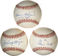 Autographs:Baseballs, MLB Hall of Famers Single Signed Baseballs Lot of 3....