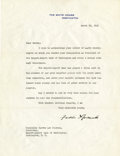 "Autographs:U.S. Presidents, Franklin D. Roosevelt: Typed Letter Signed as President.. -March28, 1945. Washington, D.C. One page, 8"" x 10.5 "". White Hou..."