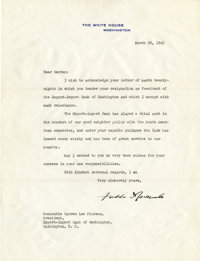"""Franklin D. Roosevelt: Typed Letter Signed as President. -March 28, 1945. Washington, D.C. One page, 8"""" x 10.5 &quo..."""