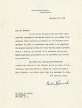 """Autographs:U.S. Presidents, Franklin D. Roosevelt: Typed Letter Signed as President.. -September 20, 1944. Washington, D.C. One page, 8"""" x 10.5"""". White ..."""