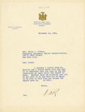 "Autographs:U.S. Presidents, Franklin D. Roosevelt: Typed Letter Signed ""FDR"" as New YorkGovernor.. -November 10, 1931. Albany, New York. On..."