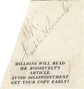 "Autographs:U.S. Presidents, Franklin D. Roosevelt: Signature in Pencil with added ""OK""..-No date. No place. One odd-clipped page. 3"" x 3.25..."
