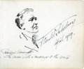 Autographs:Artists, Frank O. Salisbury: Original Pen and Ink Sketch of PresidentRoosevelt, Signed and Dated.. -April 1939. No place. One page. ...