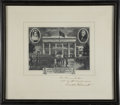 "Autographs:U.S. Presidents, Franklin D. Roosevelt: Print of Second Inauguration Signed andInscribed to Frances Perkins.. -1937. 17"" x 15"".. -Ink faded ..."