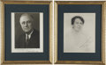 "Autographs:U.S. Presidents, Franklin and Eleanor Roosevelt: Photos Signed and Inscribed.. -No dates. 8"" x 10"", each matted and framed to 12"" x 15.5"".. -... (Total: 2 Items)"