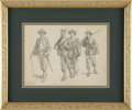 Military & Patriotic:Civil War, Detailed Pencil Sketch of Four Western Theater Federal Soldiers, three enlisted men and an officer, by Thure de Thulstru...