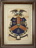 "Military & Patriotic:Civil War, Postwar Escutcheon for Major M. Edgar Richards, 96th Pennsylvania Infantry, approximately 19"" x 27"". An American eagle presi..."