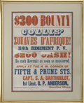 Military & Patriotic:Civil War, Collis' Zouaves D' Afrique Recruiting Broadside,...