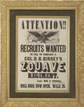 "Military & Patriotic:Civil War, Birney's Zouaves Recruiting Broadside for Co. ""C"", 23rd Pennsylvania Volunteers,..."